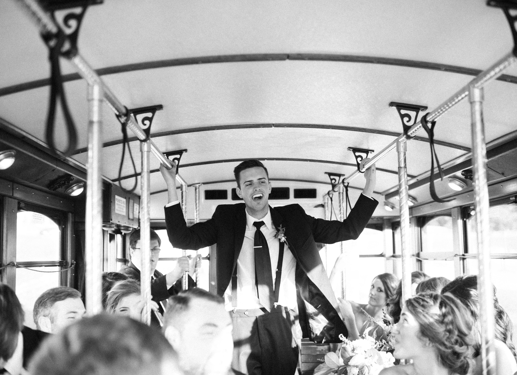 Wedding Transportation Groomsman Antique Trolley
